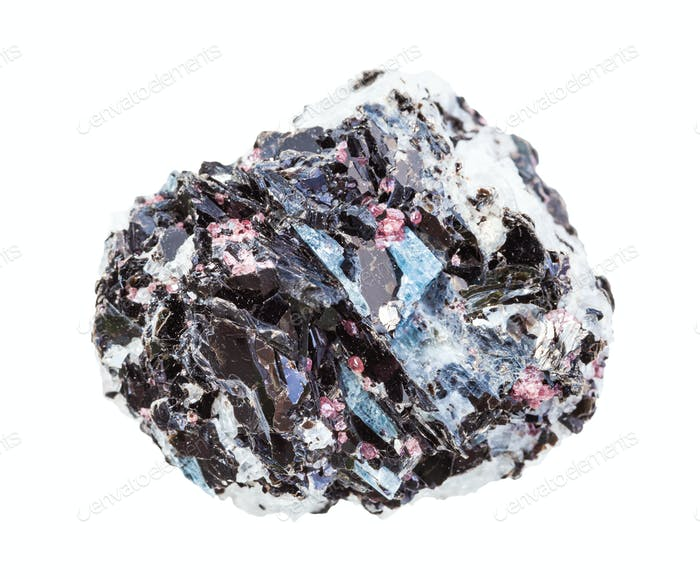 unpolished gneiss rock with crystals isolated