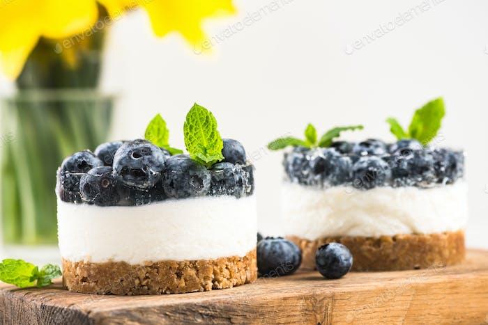 Homemade light blueberry cheesecake