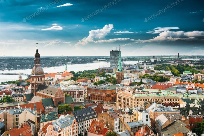 Thumbnail for Riga, Latvia. Cityscape In Sunny Summer Day. Famous Landmarks -