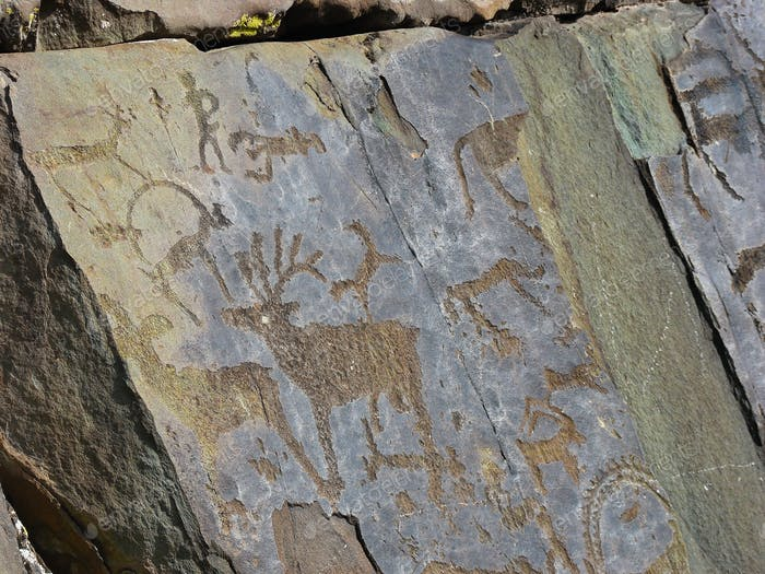 Stones with of people and animals petroglyphs