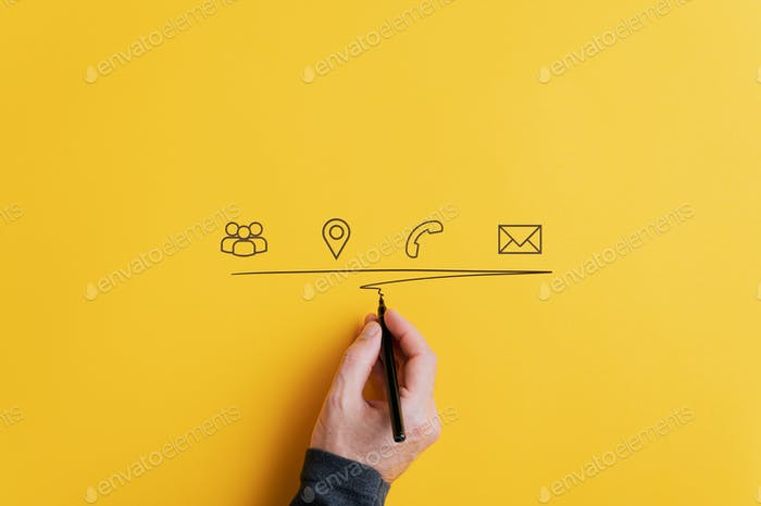 Contact and communication icons on yellow background