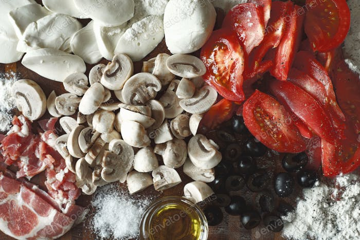 Ingredients for calzone top view