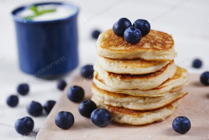 Stack of pancakes with blueberry