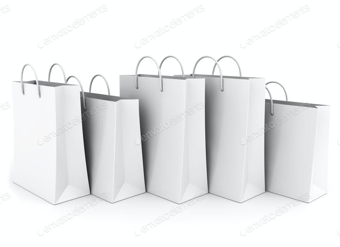 Empty Shopping Bags on the white. In a row