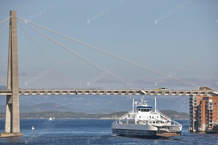 Norwegian ferries in Stavanger city harbor. Norway. Transportation background