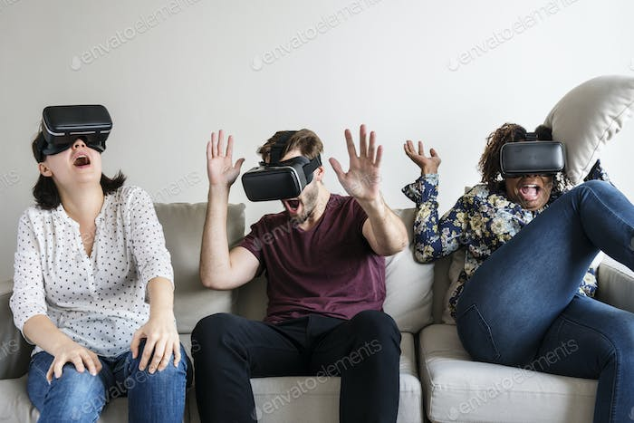Friends enjoying VR
