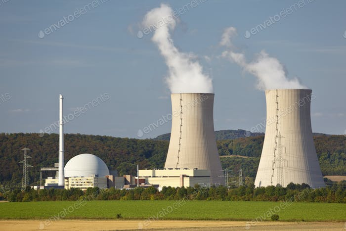 Nuclear Power Station In Green Landscape