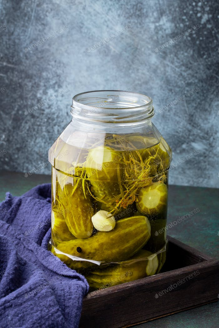 Homemade pickled cucumber