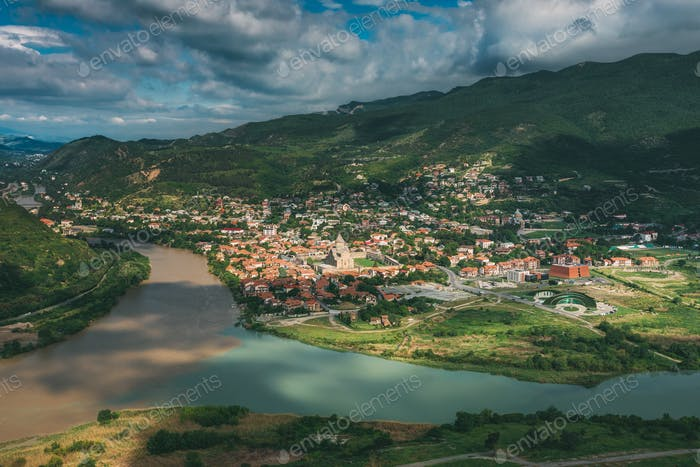 Mtskheta Georgia. Aerial View Of Picturesque Highlands, Blue Sky