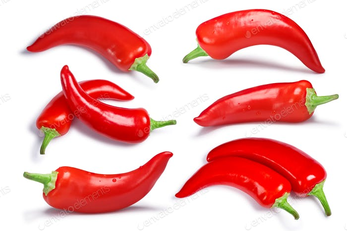 Set of Hot Wax paprika peppers, path