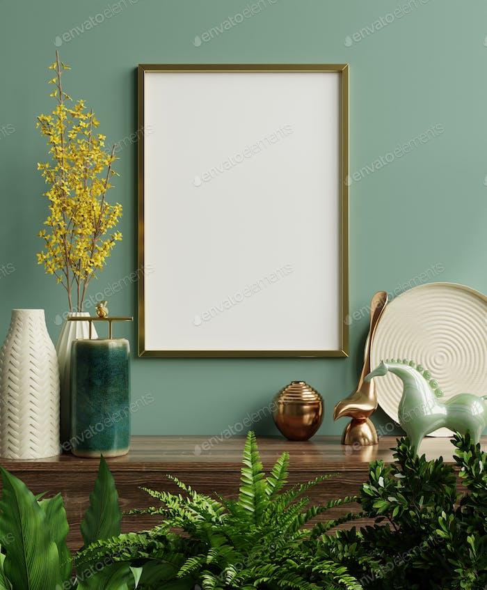 Mockup Fotorahmen auf dem grünen Regal mit schönen Pflanzen.