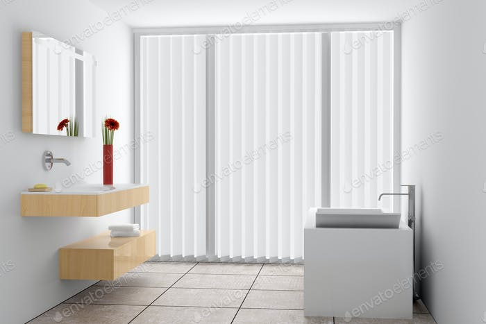 modern bathroom with white walls