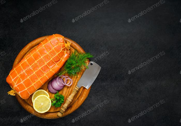 Copy Space with Smoked Fish