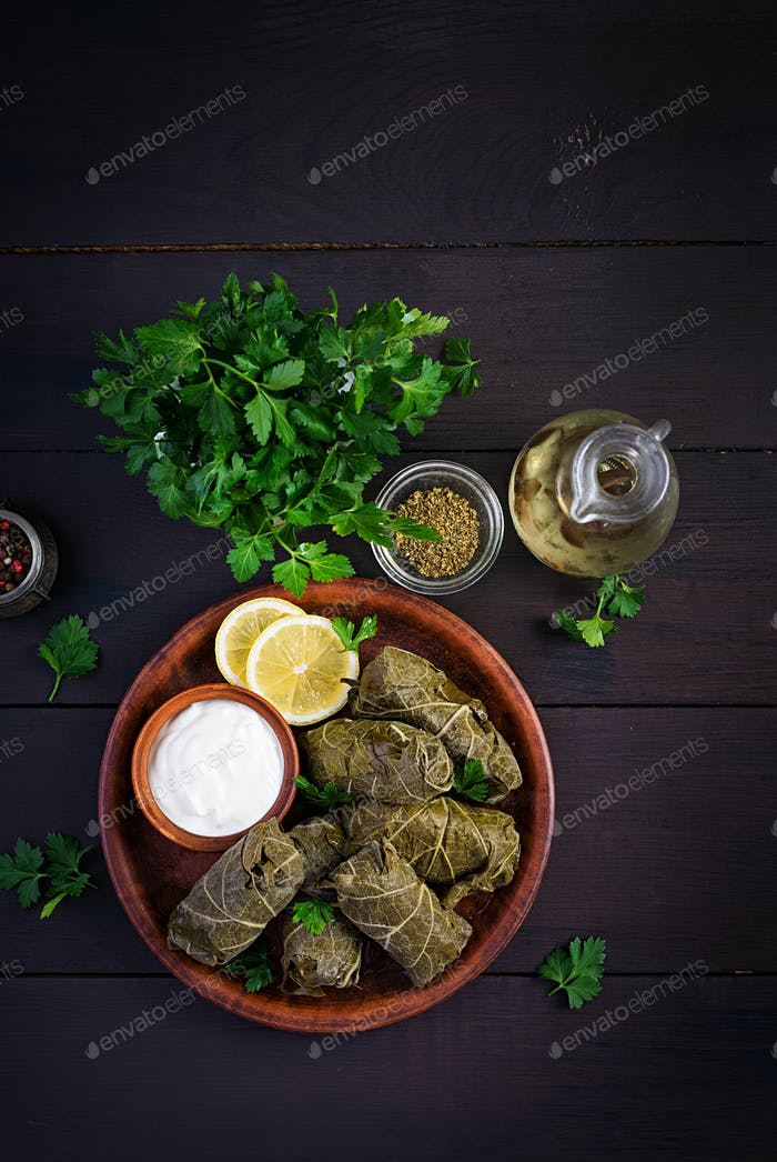 Dolma. Stuffed grape leaves with rice and meat