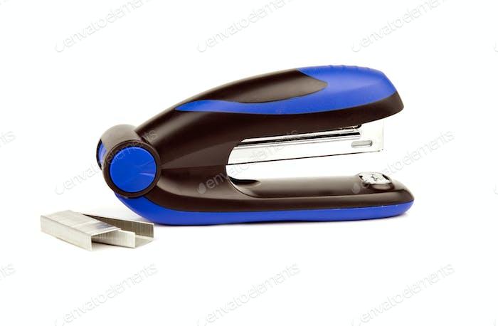 blue stapler with staples