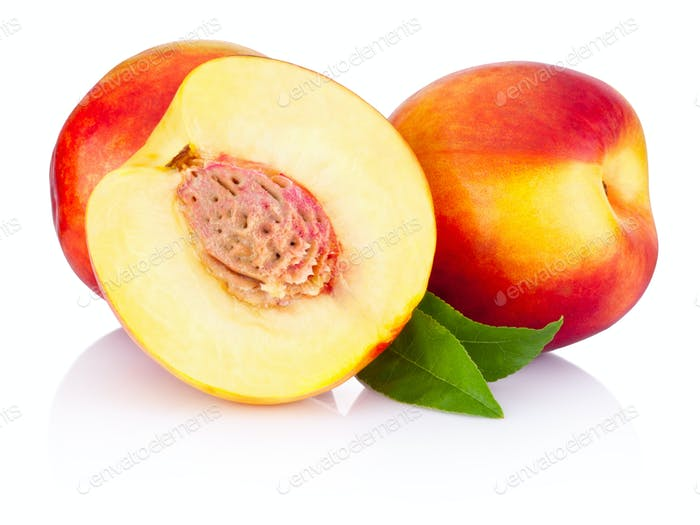 Fresh nectarines fruit isolated on a white background