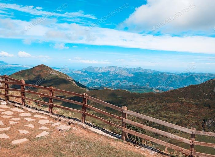 viewpoint from Picos de Europa in Asturias, Spain