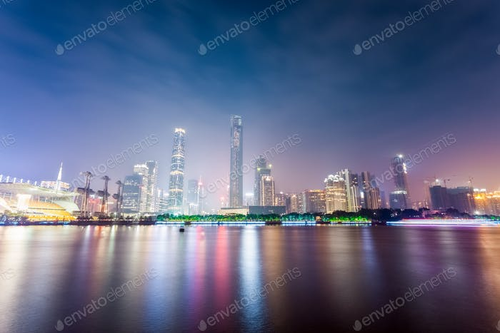 guangzhou zhujiang new town skyline at night