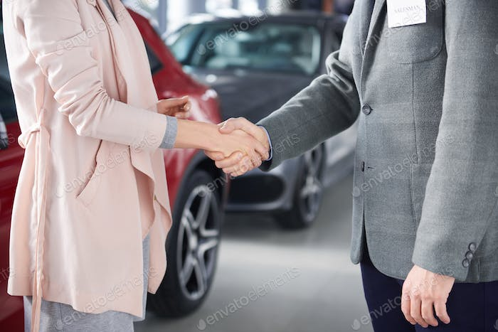 Close up of handshake salesman and woman