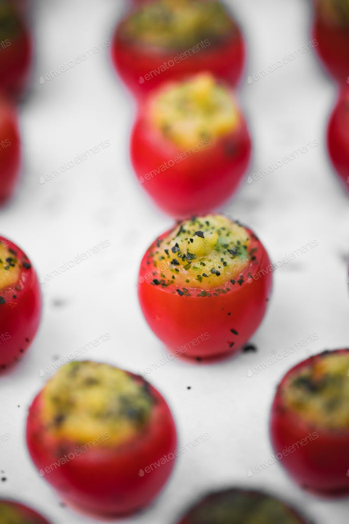 Tomatoes with cheese snacks