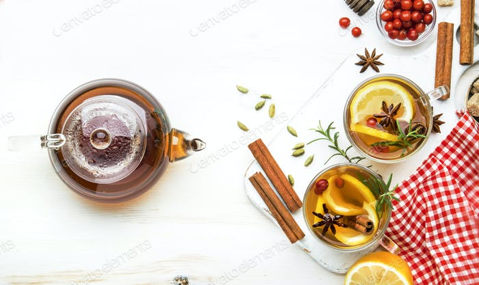 Winter healing hot tea with lemon