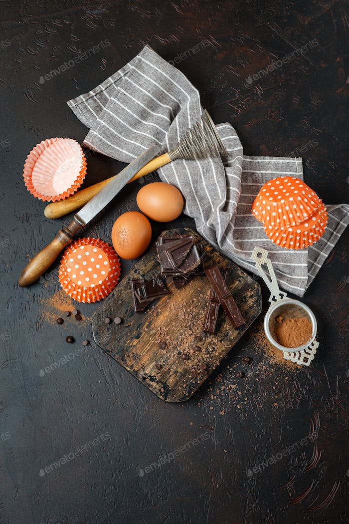 Ingredients and Tools for Chocolate Baking