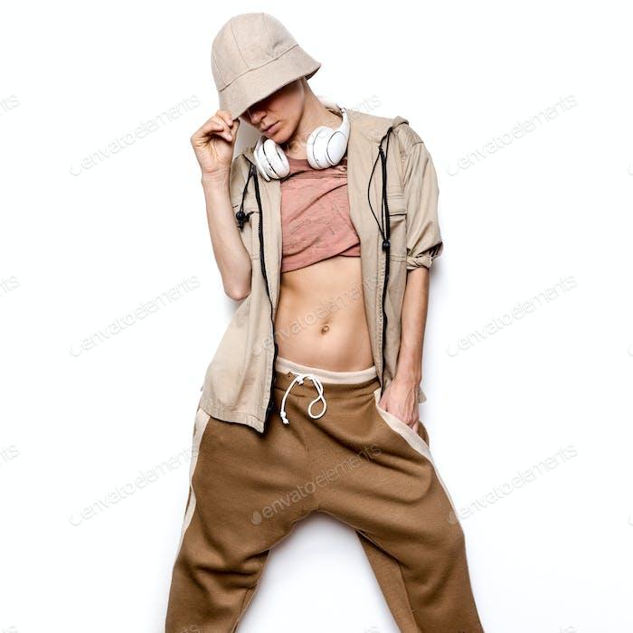 Urban Fashion Model. Hip Hop Street Dance style.