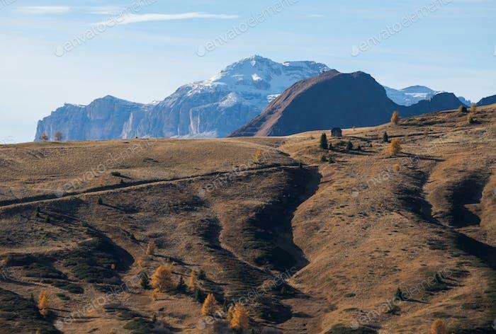 Autumn scenery in Dolomites mountains
