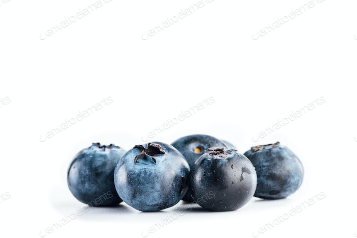 Fresh blueberries on white background