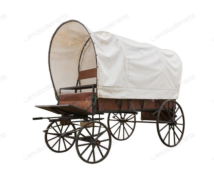 Covered wagon isolate on white