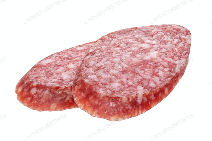Two oval salami sausage slices isolated