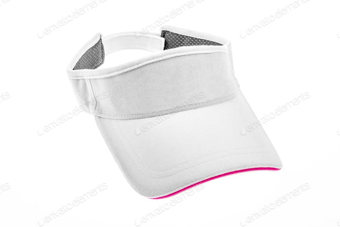 Men's white golf visors with purple colour trim