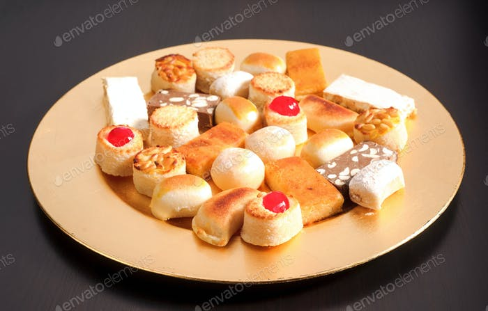 golden tray with marzipan Christmas