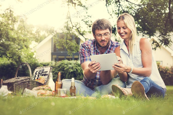 People Picnic Togetherness Relaxation DIgital Tablet Technology