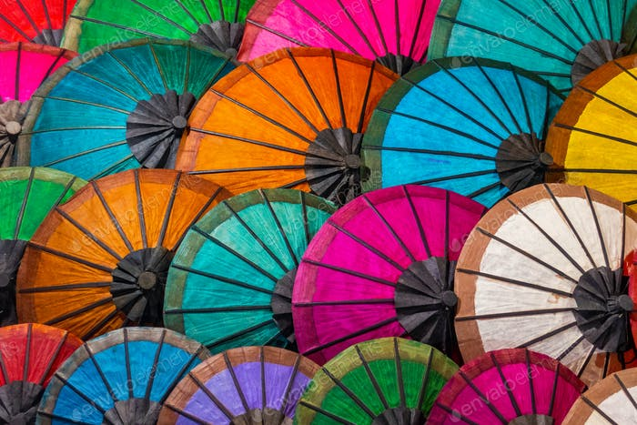 Colorful Umbrellas At Street Market In Luang Prabang, Laos