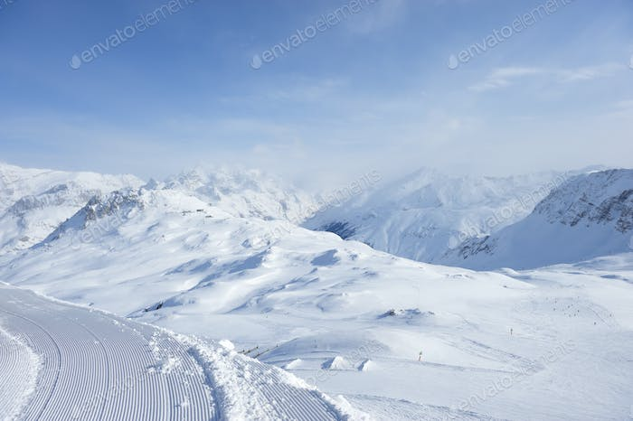 Mountains with snow in winter