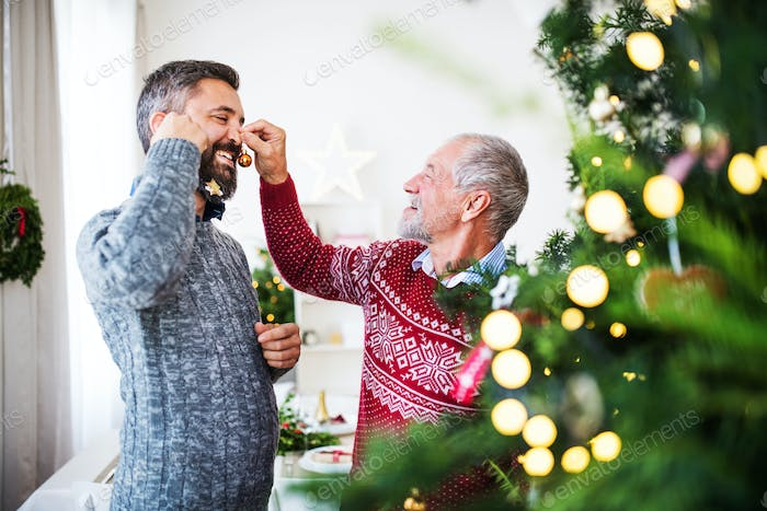 A senior father and adult son standing by a christmas tree, having fun.
