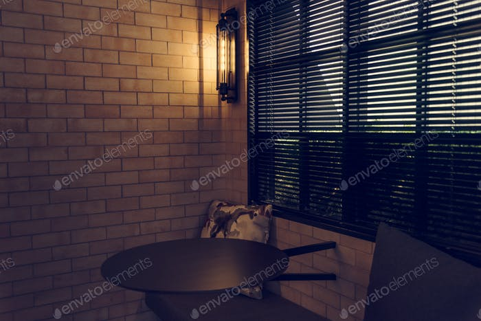Interior of a cafe with brick walls