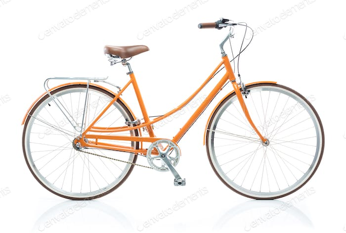 Stylish orange bicycle isolated on white background