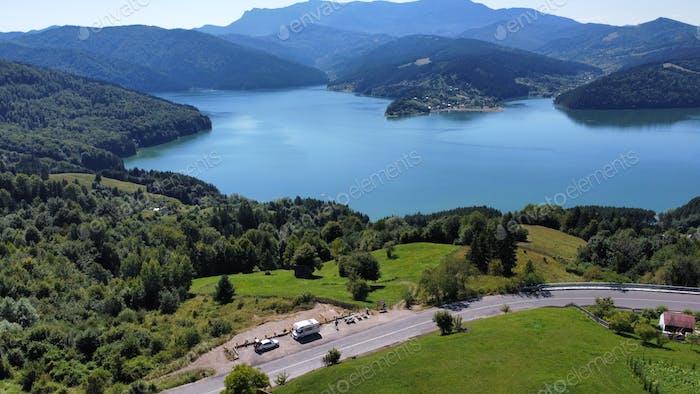Scenic Aerial Landscape in Romania