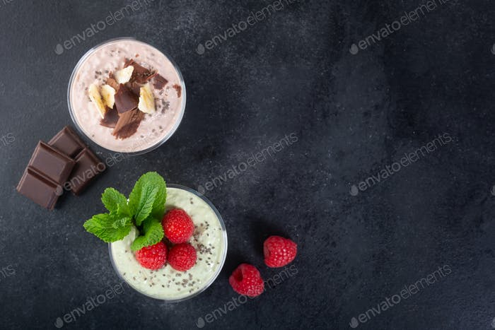 Chia seed pudding with three flavors, cocoa, matcha and strawberry with yoghurt, chocolate and mint