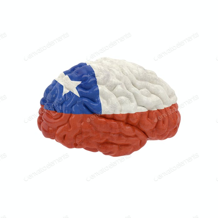 Chile. Flag on Human brain. 3D illustration.