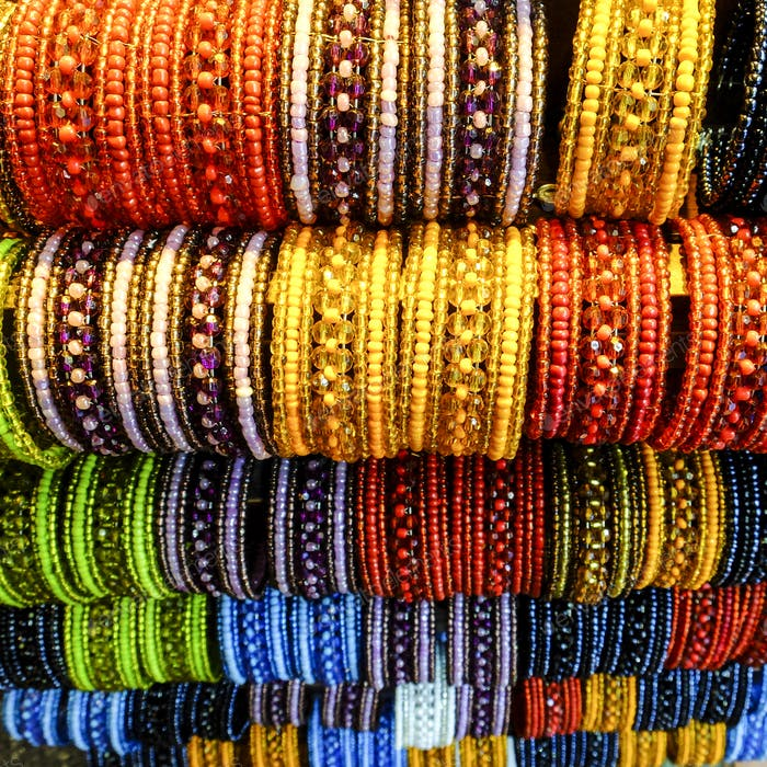 mixed coloured bracelet of beads available at the souvenir jewelry traditional store in vacation