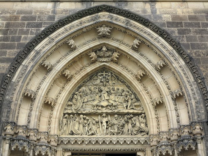 Last Judgement - sculpture above the entrance to the church