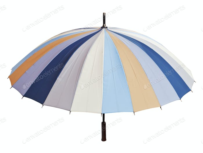 striped multicolored umbrella isolated on white