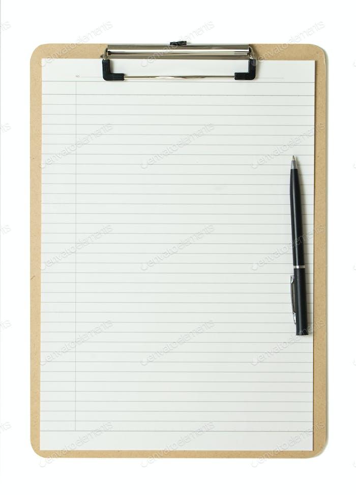 Cliqboard mit Kugelschreiber