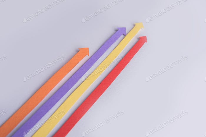 Business graphics arrows isolated over grey background.
