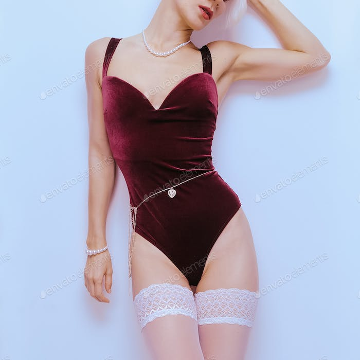 Sensual Model in sexy vintage underwear. Velvet body. Underwear