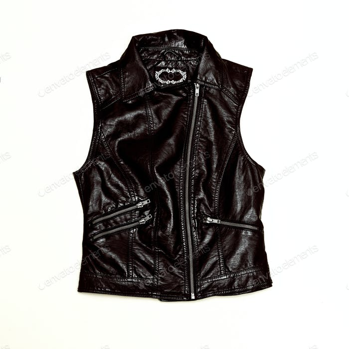 Rock Style Black Urban fashion. Leather Vest Minimal