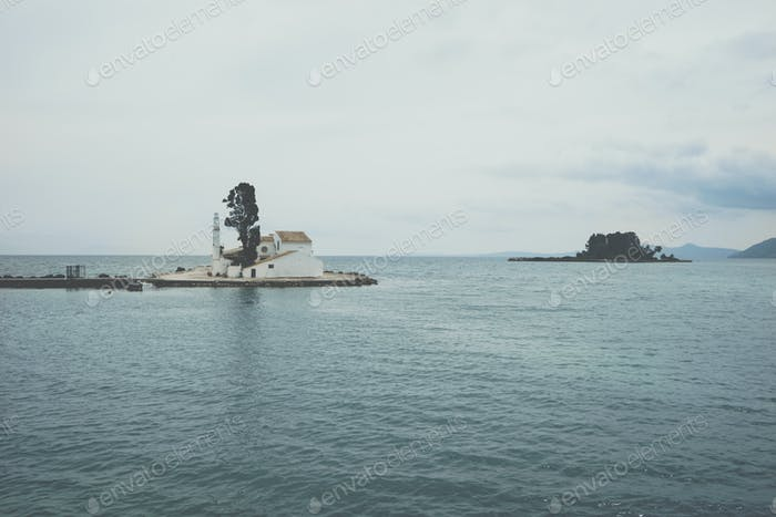 Vlacherna Monastery and Mouse island on Corfu, Pontikonisi Islan
